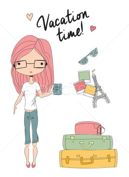 Lány tart útlevél áll bőröndök kész Stock fotó © BlueLela