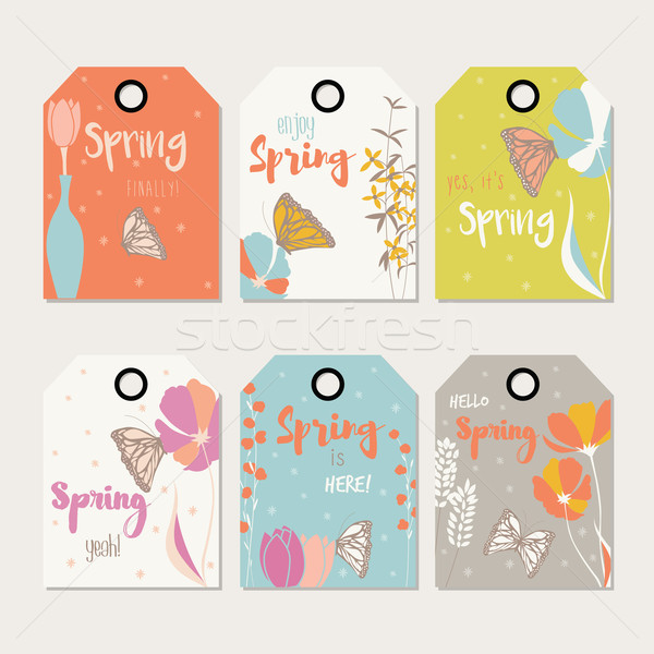 Spring floral gift tag design, with hand drawn flowers, floral elements, vases and monarch butterfli Stock photo © BlueLela