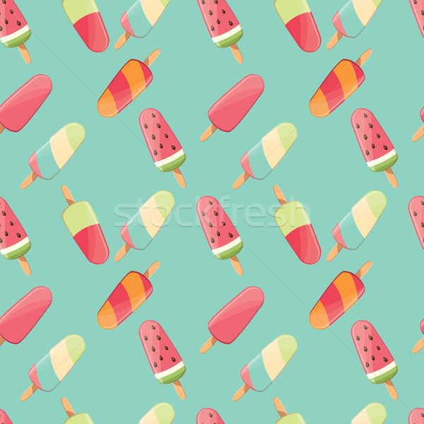 Sweet Ice Cream Flat Colorful Seamless Pattern Vector: Sorvete · Colorido · Verão · Delicioso · Doce
