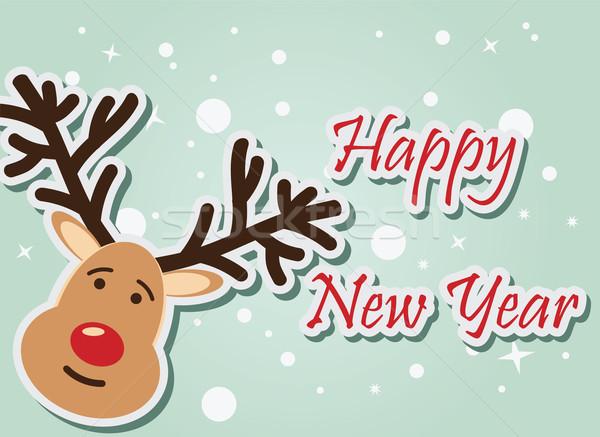 Reindeer Happy New Year, vector illustration Stock photo © BlueLela