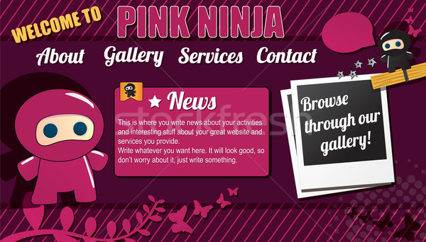 Website template design elements with ninja character Stock photo © BlueLela