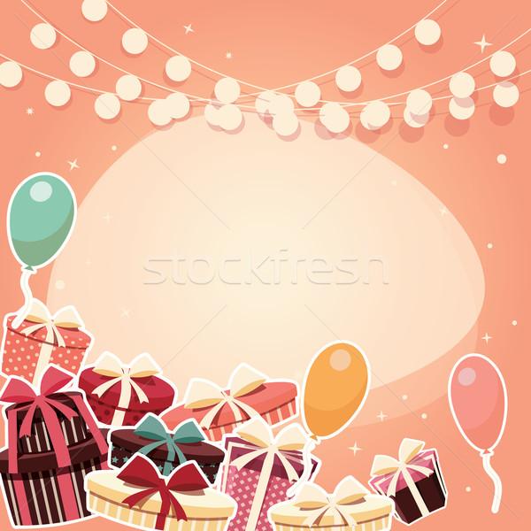 Születésnap matrica ajándékok léggömbök gyerekek boldog Stock fotó © BlueLela