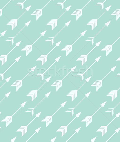 Stock photo: Bohemian hand drawn arrows, seamless pattern