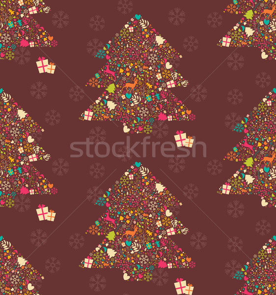Seamless pattern with ornamental Christmas tree with reindeers, gift boxes and snowflakes, vector il Stock photo © BlueLela