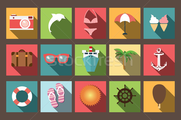 Stock photo: Summer vacation flat icons with long shadow, design elements