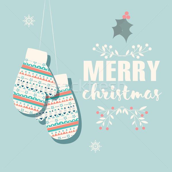 Vidám karácsony képeslap ujjatlan kesztyűk dekoráció gyerekek Stock fotó © BlueLela
