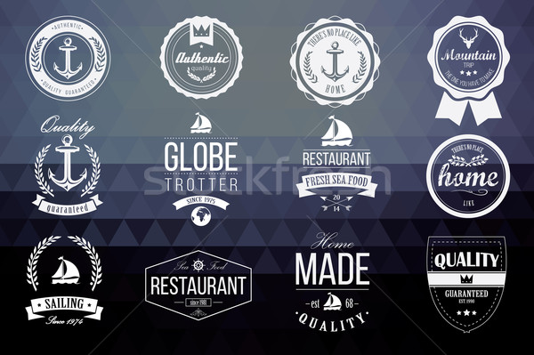 Collection of vintage retro insignia, badges, stamps, ribbons an Stock photo © BlueLela