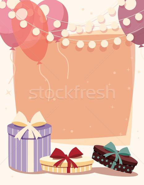 歳の誕生日 プレゼント 風船 子供 背景 星 ストックフォト © BlueLela