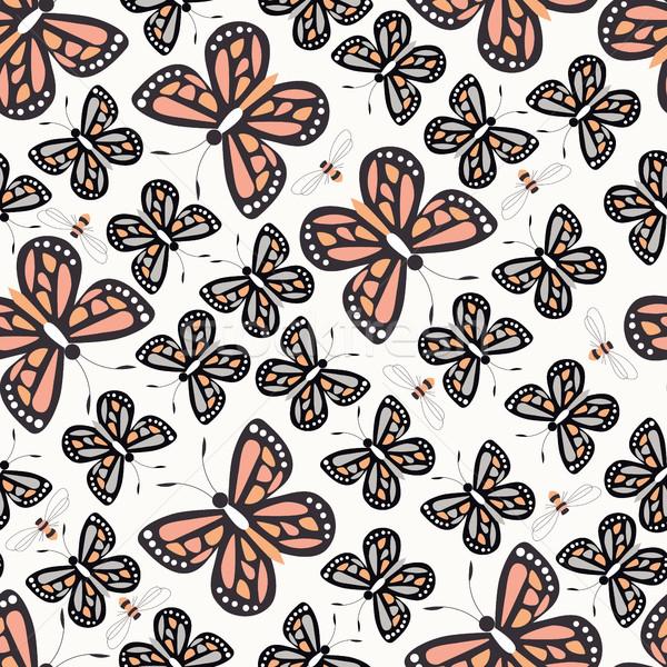 Stock fotó: Végtelen · minta · színes · pillangók · méhek · természet · élet