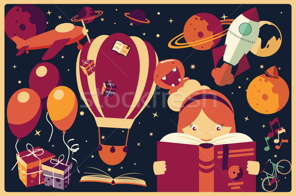 Background with imagination items and a girl reading a book Stock photo © BlueLela