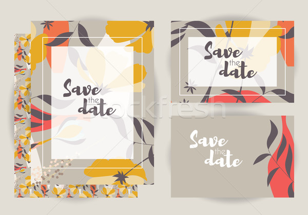 Wedding invitations, collection of vector wedding set with floral seamless pattern, vector illustrat Stock photo © BlueLela