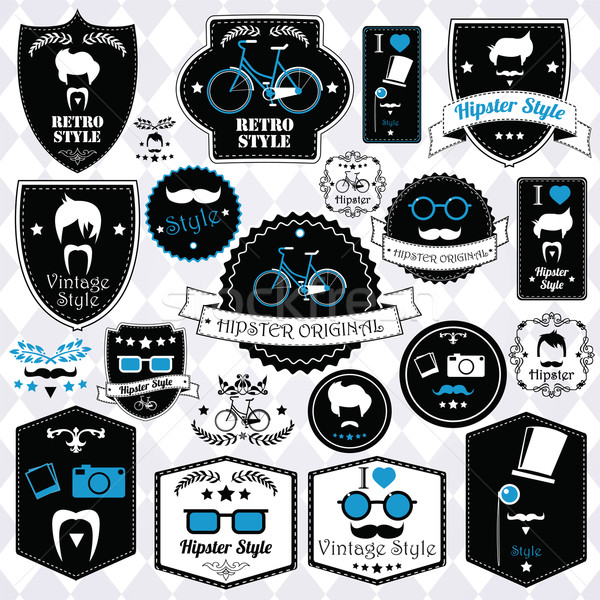 Collection of vintage hipster badges, labels and stamps, vector  Stock photo © BlueLela