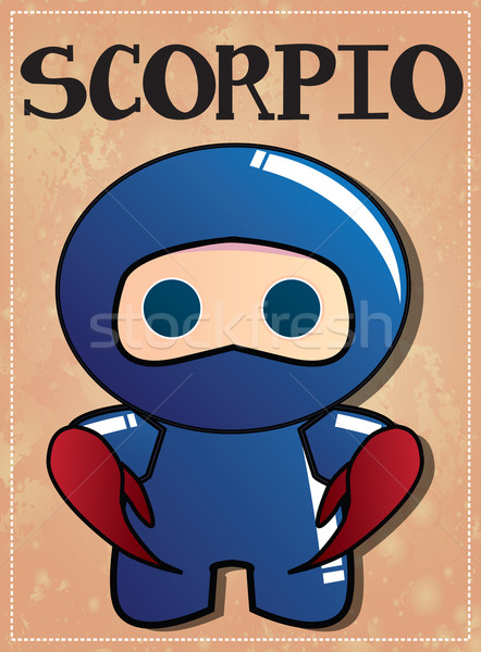 Zodiac sign Scorpio with cute black ninja character Stock photo © BlueLela