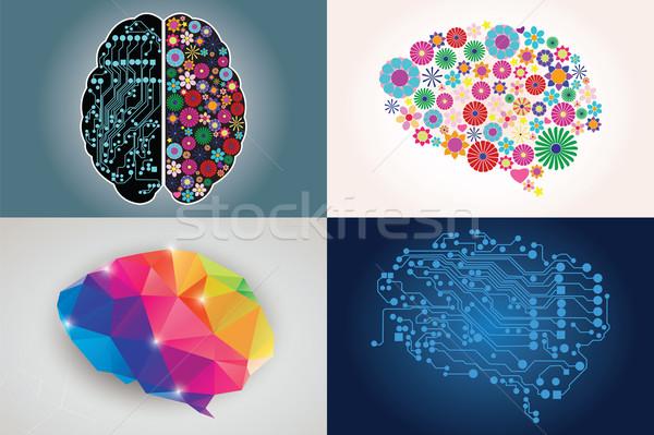 Quatre différent humaine côté créativité Photo stock © BlueLela