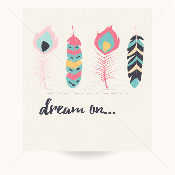 Stock photo: Postcard design with inspirational quote and bohemian colorful f