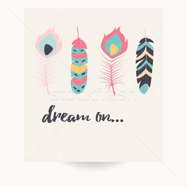 открытки дизайна Вдохновенный цитировать богемский красочный Сток-фото © BlueLela