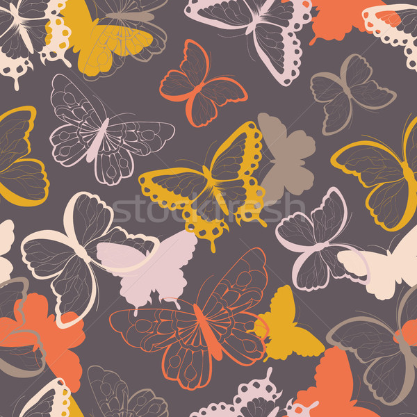 Seamless vector pattern with hand drawn colorful butterflies, si Stock photo © BlueLela