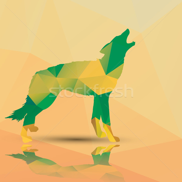 Stock photo: Geometric polygonal wolf, pattern design, vector illustration