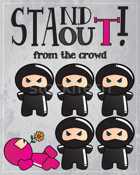 Card with cute cartoon ninja characters with a message to be uni Stock photo © BlueLela