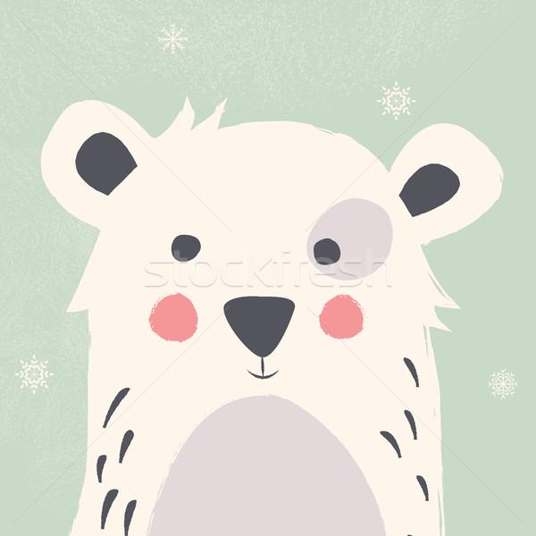 Cute polar bear with snowflakes on green background Stock photo © BlueLela