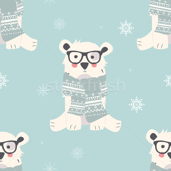 Végtelenített vidám karácsony minták aranyos jegesmedve Stock fotó © BlueLela