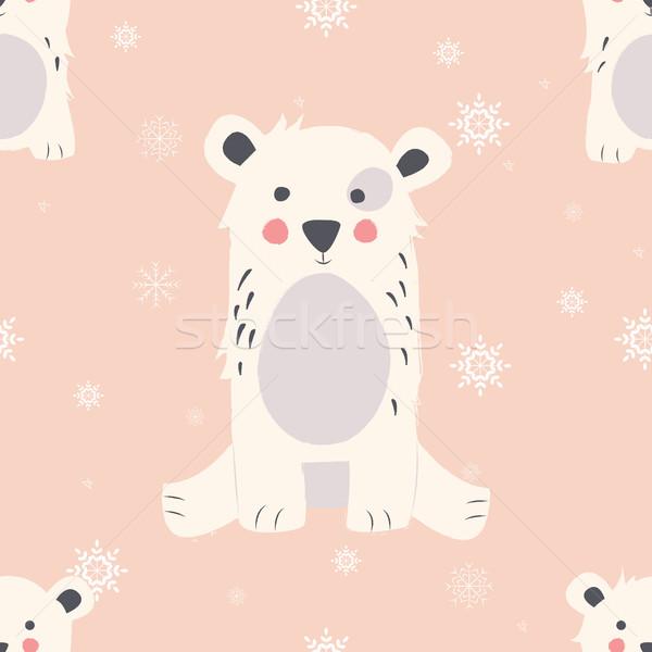 Stock photo: Seamless Merry Christmas patterns with cute polar bear animals