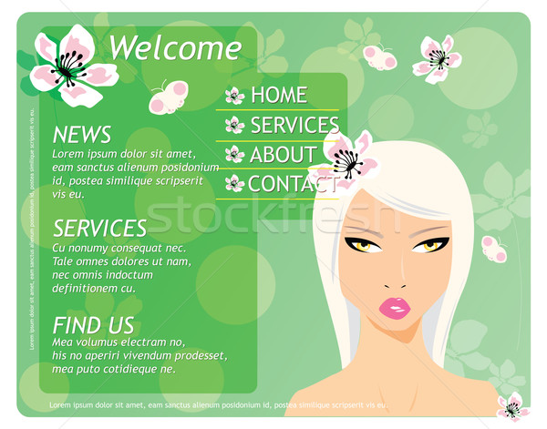 Stockfoto: Schoonheid · website · sjabloon · mooi · meisje · bloemen · business