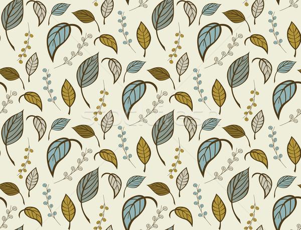シームレス フローラル パターン 手描き 葉 花 ストックフォト © BlueLela
