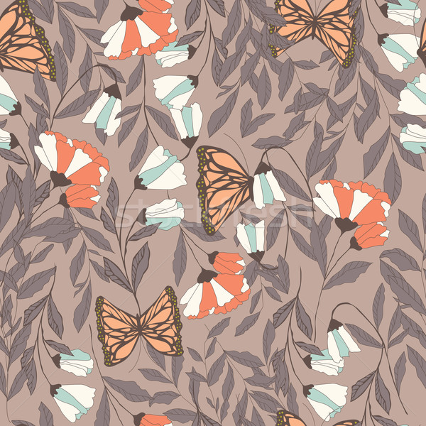 Vector traditional seamless pattern with Monarch butterflies, fl Stock photo © BlueLela