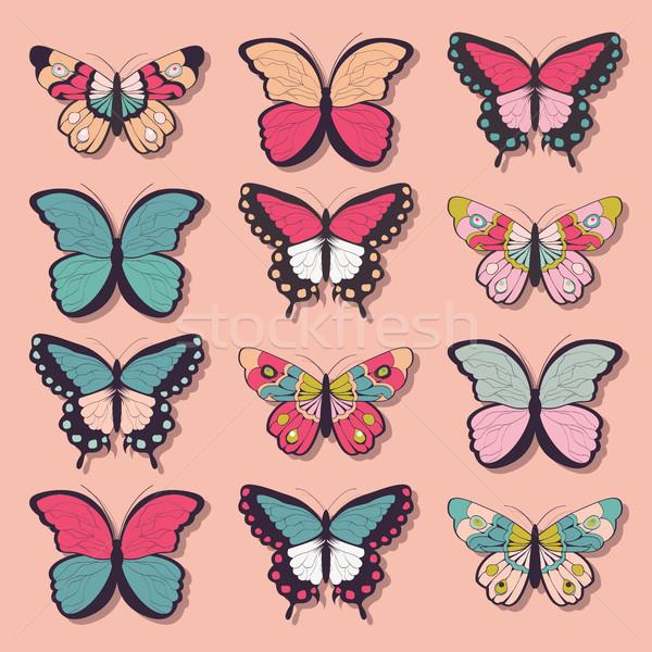 коллекция двенадцать красочный рисованной бабочки розовый Сток-фото © BlueLela