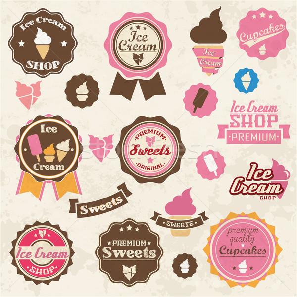 Photo stock: Ensemble · vintage · rétro · crème · glacée · étiquettes