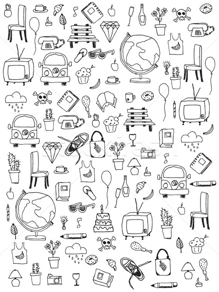 Everyday things, handdrawn, black and white Stock photo © BlueLela