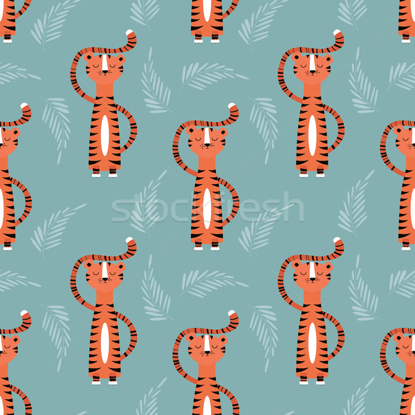 Seamless pattern with cute jungle orange tiger on blue background Stock photo © BlueLela