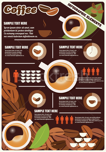 Collection of coffee infographics elements, vector Stock photo © BlueLela