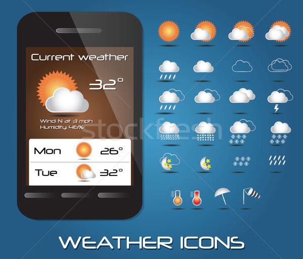Ayarlamak hava durumu simgeler web hareketli vektör Stok fotoğraf © BlueLela