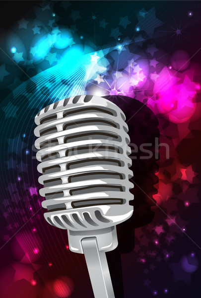 Music background with microphone and speakers, vector Stock photo © BlueLela