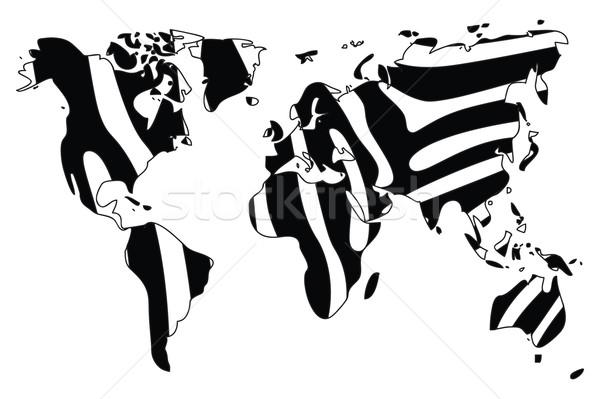 World map in animal print design, zebra pattern, vector illustra Stock photo © BlueLela