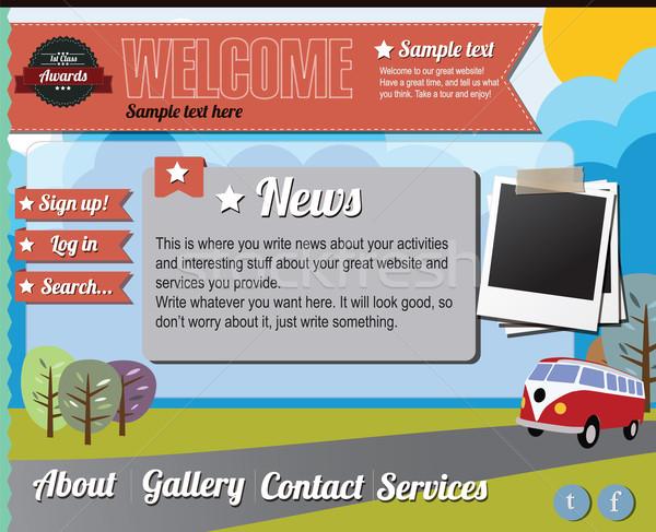 Website template design elements, gas pump, vintage style Stock photo © BlueLela