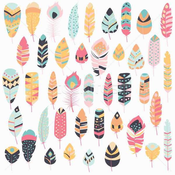 Collection of boho vintage tribal ethnic hand drawn colorful feathers, vector illustration Stock photo © BlueLela