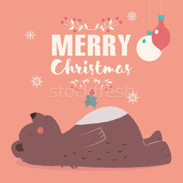 веселый Рождества открытки Cute Бурый медведь Сток-фото © BlueLela