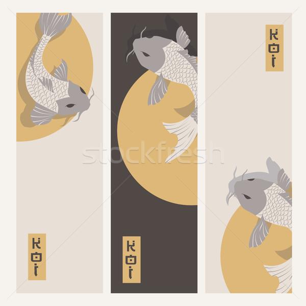 Drie verticaal banners karper koi vis Stockfoto © BlueLela