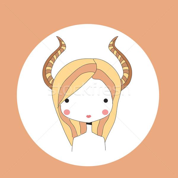 Oroscopo segno ragazza testa design capelli Foto d'archivio © BlueLela