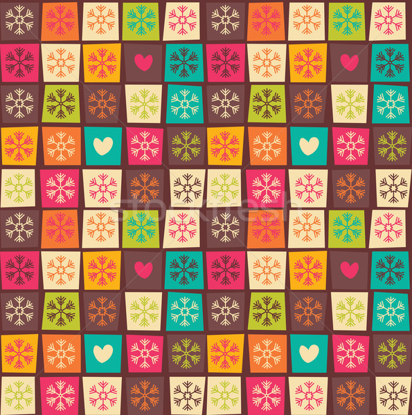 Seamless patterns with colorful squares and snowflakes Stock photo © BlueLela