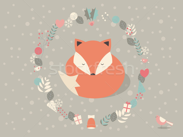 Cute sleepy Christmas fox surounded with floral decoration, vect Stock photo © BlueLela