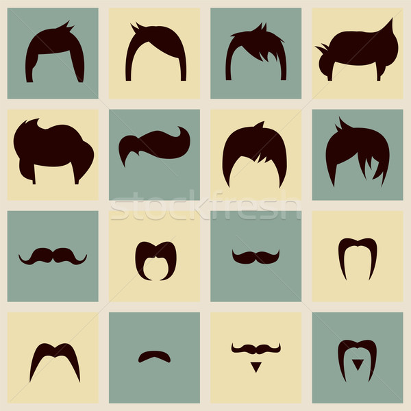 Collection of hipster retro hair styles and mustaches, vector il Stock photo © BlueLela