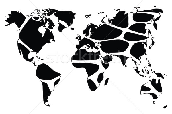 World map in animal print design black and white vector illust stock photo stock vector illustration world map in animal print design black and white vector illustration gumiabroncs Images