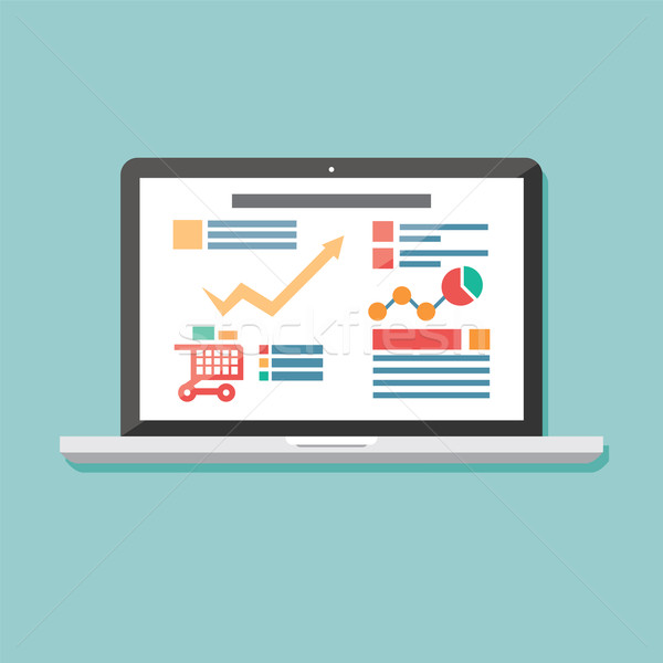 Ikon laptop elektronikus berendezés reszponzív web design Stock fotó © BlueLela
