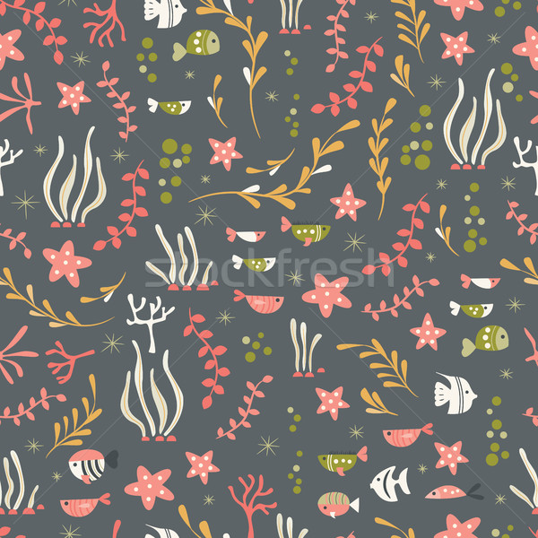 Seamless pattern with underwater ocean animals, cute fish and plants Stock photo © BlueLela