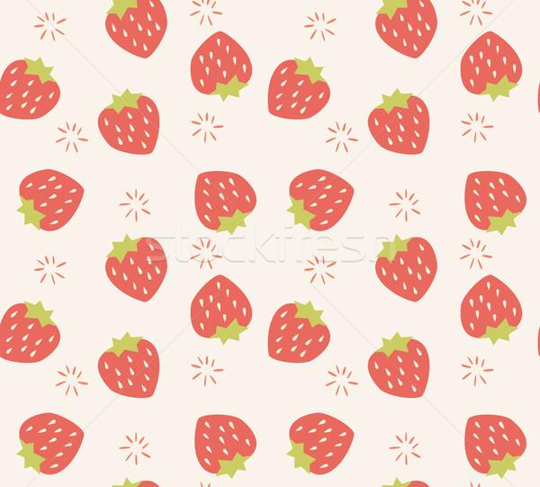 Seamless pattern with hand drawn strawberry fruit Stock photo © BlueLela