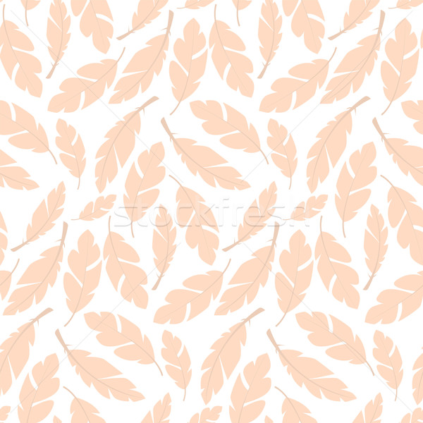 Stock photo: Seamless pattern design with bohemian hand drawn feathers
